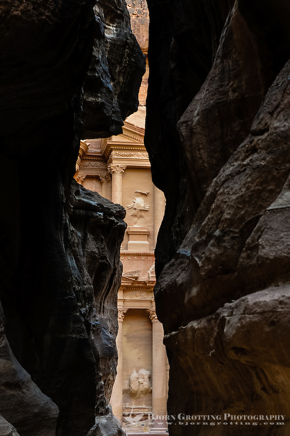 Petra is Jordan's most visited tourist attraction. Al Khazneh, The Treasury, seen from the end of the al-Siq, the main entrance to the ancient city.