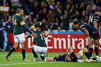 Lwazi Mvovo of South Africa is congratulated on his try. Rugby World Cup Pool B match between South Africa and the USA on October 7, 2015 at The Stadium, Queen Elizabeth Olympic Park in London, England. Photo by: Patrick Khachfe / Onside Images