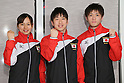 (L to R) Ayano Kishi (JPN), Yoshihiro Ueyama (JPN), Masaki Ito (JPN), July 2, 2011 - Trampoline : Japanese Trampoline team member pose for media during the Send-off Ceremony for the London Olympic in Tokyo, Japan.  (Photo by Yusuke Nakanishi/AFLO SPORT)