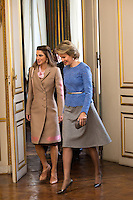 Queen Mathilde of Belgium meets with Queen Rania of Jordan at the Royal Palace - Brussels - Belgium