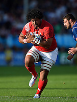 Opeti Fonua of Tonga in possession. Rugby World Cup Pool C match between Tonga and Namibia on September 29, 2015 at Sandy Park in Exeter, England. Photo by: Patrick Khachfe / Onside Images