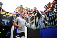 Leroy Houston of Bath Rugby runs out onto the field for the pre-match warm-up. Aviva Premiership match, between Bath Rugby and Worcester Warriors on September 17, 2016 at the Recreation Ground in Bath, England. Photo by: Patrick Khachfe / Onside Images