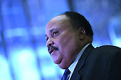 Martin Luther King III  speaks to members of the media after a meeting with President-Elect Donald J. Trump (not pictured) in the lobby of the Trump Tower in New York, NY, on January 16, 2017. <br /> Credit: Anthony Behar / Pool via CNP