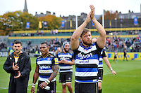 Dave Attwood of Bath Rugby acknowledges the crowd after the match. Aviva Premiership match, between Bath Rugby and Exeter Chiefs on October 17, 2015 at the Recreation Ground in Bath, England. Photo by: Patrick Khachfe / Onside Images