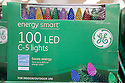 Close up of sustainable holiday lights in store. General Electric brand 'Energy Smart' energy efficient LED holiday lights at Cosco. San Francisco, California, USA