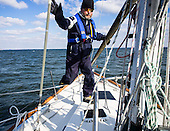 Captain of the Obtuse, Chris Charbonneau navigates the cold and choppy waters of the Chesapeake Bay. He takes a crew of including Stiv Wilson of 5 Gyres which is renowned for research on plastic pollution in the ocean's gyres,  Julie Lawson, executive director of Trash Free Maryland and other environmental experts and activists to trawl the Chesapeake Bay for pollution. <br /> #trashtrawl #chesbay @trashfreemd<br /> <br /> PHOTOS/John Nelson