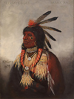 Yellow Eagle, Mandan chief, painting, 1879, oil on canvas, by Henry H Cross, 1837-1918, American artist, from the collection of Denver Art Museum, Denver, Colorado, USA. The Native American chief wears a feather headdress and ceremonial necklaces. Picture by Manuel Cohen