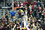 DALLAS, TX - APRIL 2: Dawn Staley head coach for South Carolina salutes fans after cutting down the net following their victory over Mississippi State during the 2017 Women's Final Four at American Airlines Center on April 2, 2017 in Dallas, Texas. (Photo by Evert Nelson/NCAA Photos via Getty Images)