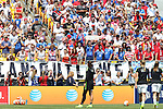 16 August 2015: U.S. supporters, The American Outlaws, watch Hope Solo (USA) warm up before the game. The United States Women's National Team played the Costa Rica Women's National Team at Heinz Field in Pittsburgh, Pennsylvania in an women's international friendly soccer game. The U.S. won the game 8-0.