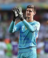 FUSSBALL WM 2014  VORRUNDE    Gruppe H     Belgien - Algerien                       17.06.2014 Torwart Thibaut Courtois (Belgien) jubelt nach dem Abpfiff
