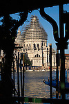 Scaffolding on the dome of San Maria della Salute, Grand Canal Venice, Italy 2007