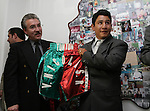 """Mexican Boxer Edgar """"Tun Tun"""" Cardenas poses during a ceremony where he was accepted as a new member of the Hall of Fame in Toluca City, September 13, 2007. Photo by Javier Rodriguez"""