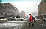 A snowstorm slows things down in Madison, Wisconsin.