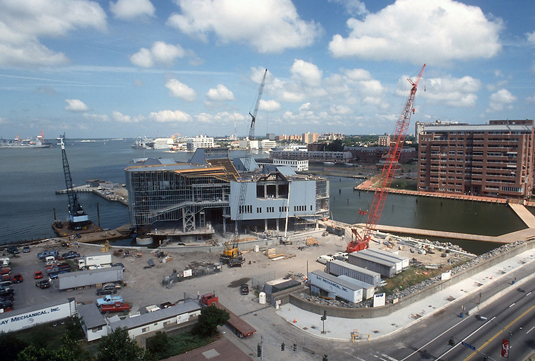 1993 August 20..Redevelopment.Downtown West (A-1-6)..NAUTICUS.CONSTRUCTION PROGRESS.LOOKING NORTHWEST FROM WORLD TRADE CENTER BALCONY...NEG#.NRHA#..
