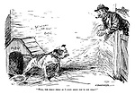"""""""Well, the honly thing as I likes about YOU is yer chain!"""" (an Edwardian era cartoon of a man comfortably leaning over a fence near a bulldog called Fido with the words Beware of the Dog on the wall)"""