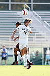 Wake's Ryan Solle (14) challenges BC's Richard Gavilanes (behind) for a header on Tuesday, November 8th, 2005 at SAS Stadium in Cary, North Carolina. The Wake Forest Demon Deacons defeated the Boston College Eagles 4-0 during their Atlantic Coast Conference Tournament Play-In game.