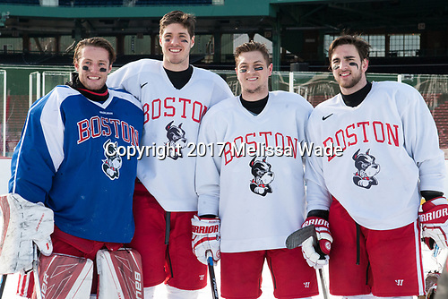 Connor Lacouvee (BU - 30), Doyle Somerby (BU - 27), Nikolas Olsson (BU - 13), John MacLeod (BU - 16) - The Boston University Terriers practiced on the rink at Fenway Park on Friday, January 6, 2017.The Boston University Terriers practiced on the rink at Fenway Park on Friday, January 6, 2017.