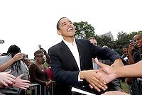 US Senator and Democratic Presidential candidate Barack Obama shakes hands with admirers at Georgia Tech in Atlanta, Georgia, April 14, 2007.