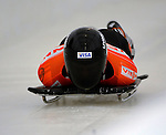 14 December 2007: Jon Montgomery, racing for Canada, starts his first run at the FIBT World Cup Skeleton Competition at the Olympic Sports Complex on Mount Van Hovenberg, at Lake Placid, New York, USA...Mandatory Photo Credit: Ed Wolfstein Photo