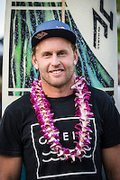 Waimea Bay, North Shore of Oahu, Hawaii.  December 4 2014) Mark Mathews (AUS) . - The Opening Ceremony of the 2014 Quiksilver In Memory of Eddie Aikau contest was held this afternoon in the park at Waimea Bay. This winter, the big wave riding event celebrates a special milestone of 30 years. <br /> The Quiksilver In Memory of Eddie Aikau is a one-day big wave riding event that only takes place if and when waves meet a 20-foot minimum height, during the holding period of December 1 through February 28, each Hawaiian winter. The official Opening Ceremony with the Aikau Family will be held on Thursday, December 4th, 3pm, at Waimea Bay.<br />  <br /> &quot;The Eddie&quot; is the original big wave riding event and stands as the measure for every big wave event that exists in the world today. It has become an icon of surfing through its honor, integrity and rarity.<br />  <br /> The event honors Hawaiian hero Eddie Aikau, whose legacy is the respect he held for the ocean; his concern for the safety of all who entered it on his watch; and the way with which he rode Waimea Bay on its most giant and memorable days. <br />  <br /> Adherence to strict wave height standards has ensured its integrity; it is only held on days when waves meet or exceed the Hawaiian 20-foot minimum (wave face heights of approximately 40 feet). This was the threshold at which Eddie enjoyed to ride the Bay. It has been said that what makes The Eddie special is the times it doesn't run, because that is precisely its guarantee of integrity and quality days of giant surf.<br />  <br /> The competition has only been held a total of 8 times: it's inaugural year at Sunset Beach, and then seven more times at its permanent home of Waimea Bay. The Eddie was last held on December 9, 2009, won by California's Greg Long.   Photo: joliphotos.com
