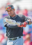 7 March 2016: Miami Marlins catcher Tomas Telis awaits his turn in the batting cage prior to a Spring Training pre-season game against the Washington Nationals at Space Coast Stadium in Viera, Florida. The Nationals defeated the Marlins 7-4 in Grapefruit League play. Mandatory Credit: Ed Wolfstein Photo *** RAW (NEF) Image File Available ***