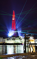 Opening of the Shard on the 5 June 2012 officially the highest building in Europe at 310m (1016ft). A light and laser show was staged for the unveiling of the building...Architect: Renzo Piano