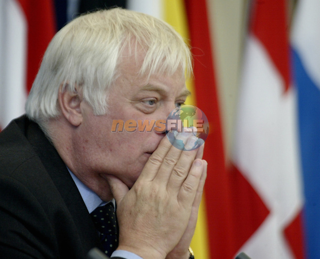 EU External Relation Commissioner,Chris Patten is pictured during the final press conference of the 6th ASEM Foreign ministers'meeting in Straffan (Ireland) 18april 2004. AFP PHOTO GERARD CERLES