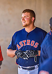 4 March 2016: Houston Astros infielder A.J. Reed stands in the dugout during a Spring Training pre-season game against the St. Louis Cardinals at Osceola County Stadium in Kissimmee, Florida. The Astros defeated the Cardinals 6-3 in Grapefruit League play. Mandatory Credit: Ed Wolfstein Photo *** RAW (NEF) Image File Available ***