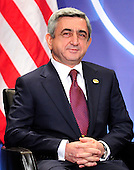 President Serzh Sargsian of Armenia  meets with United States President Barack Obama (not pictured) on the sidelines of the Nuclear Security Summit at the Washington Convention Center, Monday, April 12, 2010 in Washington, DC. .Credit: Ron Sachs / Pool via CNP