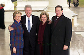 Washington, DC - January 20, 2001 -- United States President Bill Clinton and first lady Senator Hillary Rodham Clinton (Democrat of New York) welcome Vice President Al Gore and his wife Tipper at the White House for a reception prior to the swearing-in ceremony at the United States Capitol..Credit: Ron Sachs / CNP