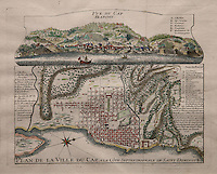 Map and view of Cap Francais, founded 1670, capital of Santo Domingo in the West Indies until 1751, when Port au Prince became the capital, 1728, in the Musee d'Aquitaine, Cours Pasteur, Bordeaux, Aquitaine, France. Picture by Manuel Cohen
