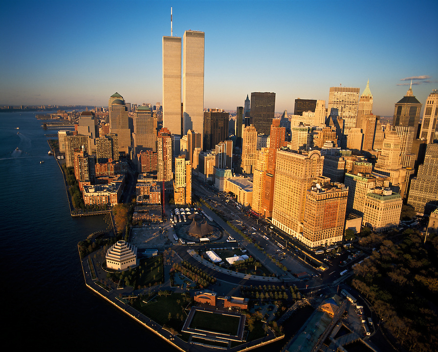 Aerial view of  Lower Manhattan, Battery Park, New York City, New York, USA