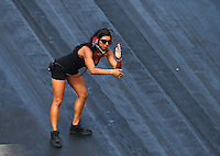 Jun 18, 2016; Bristol, TN, USA; Heather Capano , crew member and wife of NHRA pro mod driver Gerry Capano during qualifying for the Thunder Valley Nationals at Bristol Dragway. Mandatory Credit: Mark J. Rebilas-USA TODAY Sports