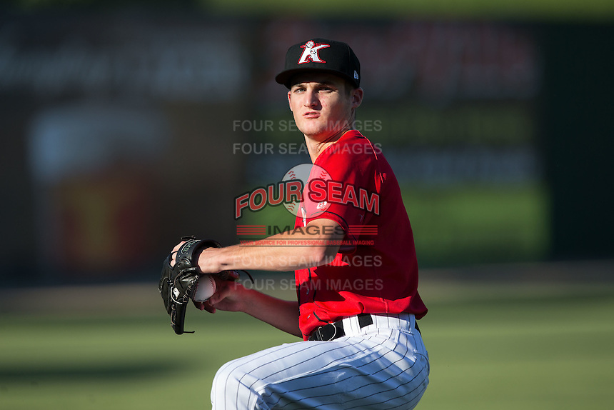Kannapolis Intimidators starting pitcher Jimmy Lambert (8) warms up in the outfield prior to the game against the Lexington Legends at Kannapolis Intimidators Stadium on July 12, 2016 in Kannapolis, North Carolina.  (Brian Westerholt/Four Seam Images)
