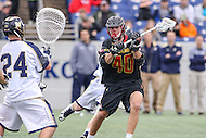 Annapolis, MD - February 11, 2017: Maryland Terrapins Connor Kelly (40) scores a goal during game between Maryland vs Navy at  Navy-Marine Corps Memorial Stadium in Annapolis, MD.   (Photo by Elliott Brown/Media Images International)