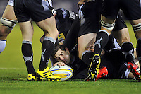 Belisario Agulla of Newcastle Falcons presents the ball. Aviva Premiership match, between Newcastle Falcons and Bath Rugby on January 2, 2016 at Kingston Park in Newcastle upon Tyne, England. Photo by: Patrick Khachfe / Onside Images