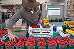 A worker with Rodriguez Organic Ranch sets up his display of strawberries on the opening day of the Los Altos Farmers Market May 2.