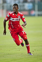 CARSON, CA – July 9, 2011: Chicago FIre midfielder Patrick Nyarko (14) during the match between LA Galaxy and Chicago Fire at the Home Depot Center in Carson, California. Final score LA Galaxy 2, Chicago Fire FC 1.