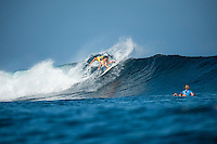 Namotu Island Resort, Nadi, Fiji (Sunday, May 29 2016): Tyler Wright (AUS) - The  2016 Fiji Women's Pro commenced at 8 am this morning in clean 3'-4' waves at Cloudbreak. Round One was completed in near perfect conditions with just a slight offshore wind before the contest was called off for the day. Photo: joliphotos.com