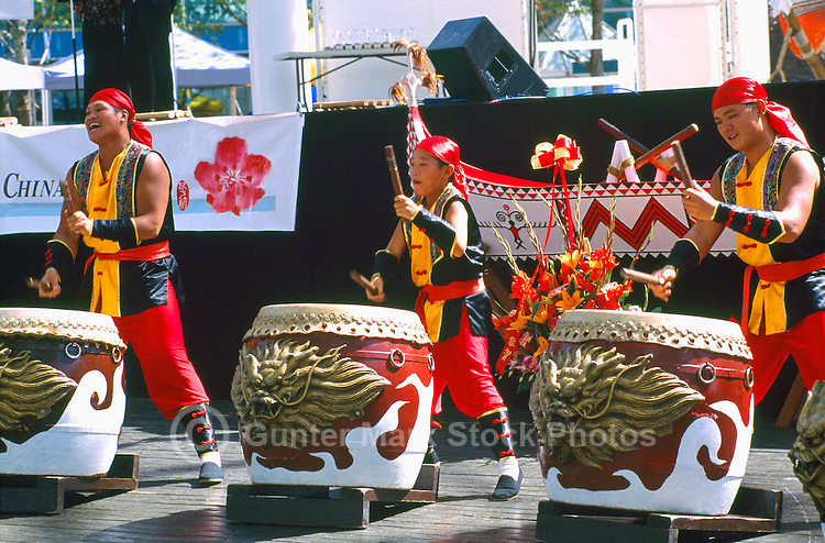 Taiko Drummers from Taiwan drumming on Taiko / Wadaiko Drums at Taiwanese Cultural Festival, Vancouver, BC, British Columbia, Canada