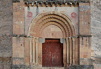 Western portal, Iglesia Vera Cruz (Church of the True Cross), 13th century, Road to Zamarramala, Segovia, Castile and Leon, Spain. Constructed by the Knights Templar to house a fragment of the True Cross, consecrated, 1208. Romanesque 12-sided polygonal building broken to the east by the triple apse and to the south by the tower. Picture by Manuel Cohen
