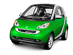 Green fuel efficient mini car Smart Fortwo. Isolated silhouette with a clipping path on white background.
