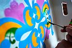 Costa Rica, Sarchi, Don Eloy Alfaro Oxcart Factory, Artist Painting Design On Oxcart Factory Souvenir