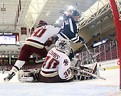 Blake Bolden (BC - 10), Molly Schaus (BC - 30), Julie Allen (UNH - 2) - The Boston College Eagles and the visiting University of New Hampshire Wildcats played to a scoreless tie in BC's senior game on Saturday, February 19, 2011, at Conte Forum in Chestnut Hill, Massachusetts.