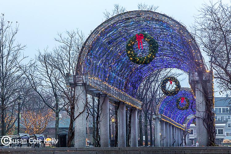 Christmas lights on the pergola in Waterfront Park, Boston, Massachusetts, USA