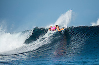 Namotu Island Resort, Nadi, Fiji (Sunday, May 29 2016): Sally Fitzgibbons (AUS) - The  2016 Fiji Women's Pro commenced at 8 am this morning in clean 3'-4' waves at Cloudbreak. Round One was completed in near perfect conditions with just a slight offshore wind before the contest was called off for the day. Photo: joliphotos.com