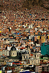 The 19th century Metropolitan or main cathedral in Plaza Murillo rises above the architecture of La Paz, Bolivia.