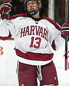 Greg Gozzo (Harvard - 13) - The Harvard University Crimson defeated the Princeton University Tigers 3-2 on Friday, January 31, 2014, at the Bright-Landry Hockey Center in Cambridge, Massachusetts.