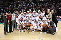 10 March 2008: Stanford Cardinal (not in order) Melanie Murphy, Jayne Appel, Michelle Harrison, JJ Hones, Candice Wiggins, Cissy Pierce, Kayla Pedersen, Hannah Donaghe, Rosalyn Gold-Onwude, Jeanette Pohlen, Ashley Cimino, Morgan Clyburn, Jillian Harmon, head coach Tara VanDerveer, Eileen Roche, Aaron Juarez, Bobbie Kelsey, Evan Unrau, Scott Schuhmann, Amy Tucker, Marcella Shorty, Kate Paye, Elaine Lambert, Jackie Zink, and Kelly Clark during Stanford's 56-35 win against the California Golden Bears in the 2008 State Farm Pac-10 Women's Basketball championship game at HP Pavilion in San Jose, CA.