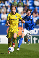 Peterborough United's Chris Forrester (R) battles with Bristol Rovers' Chris Lines (L) <br /> <br /> Peterborough 4 - 2 Bristol Rovers<br /> <br /> Photographer David Horton/CameraSport<br /> <br /> The EFL Sky Bet League One - Peterborough v Bristol Rovers - Saturday 22nd April 2017 - ABAX Stadium - Peterborough <br /> <br /> World Copyright &copy; 2017 CameraSport. All rights reserved. 43 Linden Ave. Countesthorpe. Leicester. England. LE8 5PG - Tel: +44 (0) 116 277 4147 - admin@camerasport.com - www.camerasport.com